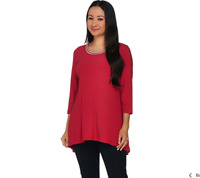 Dennis Basso Caviar Crepe Knit A Line Top With Embellishment Size XL Berry Color