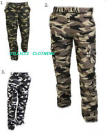 MENS CAMO CAMOUFLAUGE ARMY WOODLAND PRINTED COMBAT CARGO TROUSERS PANTS