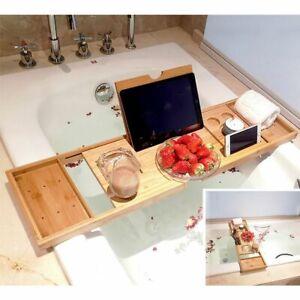 Bathtub Tray Wooden Extendable Non Slip Home Bathroom Decorations Accessories