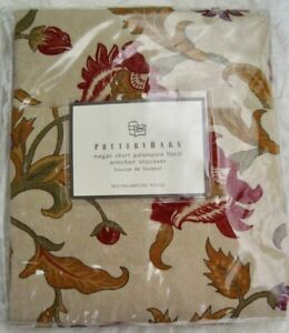 NEW Pottery Barn Megan Armchair ShortSlipcover Red Tan Palampore Floral Linen