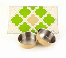 Stay on Dog Dinnerware Set – Includes 2 bowls with Placemat – Beige