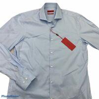HUGO BOSS Mens Dress Shirt Blue Sharp Fit Spread Collar Button 15 1/2 34/35 New
