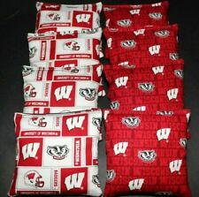 Wisconsin Badgers 8 Cornhole Bean Bags/ Baggo Toss Top Quality Handmade!