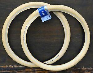 """26""""x2.15 Cream White Schwalbe BB Cruiser Bicycle Tires Vintage Schwinn Tank Bike"""