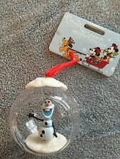 """2015 DSNEY STORE SKETCHBOOK """"OLAF"""" GLASS BALL ORNAMENT - BALL OPEN IN FRONT- NWT"""