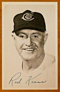Rare Red Kress Signed Original 1953 Cleveland Indians Picture Postcard Dec. 1962