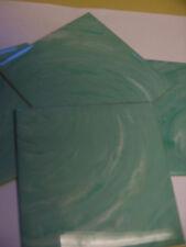 "1pc VINTAGE PLASTIC TILE BLUE GREEN marble 4 1/4"" POLYSTYRENE bathroom AQUA wall"