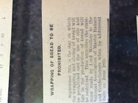 M3-9a ephemera 1941 dagenham article ww2 wrapping of bread prohibited
