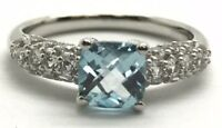 Sterling Silver Cushion Blue Aquamarine - CZ Cluster Petite Cocktail Band Ring 7