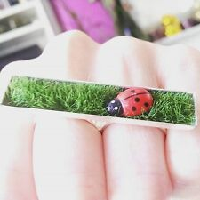 Unique LADYBIRD ON THE LAWN RING grass ADJUSTABLE handmade DOUBLE RING wildlife
