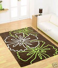 X LARGE LIME GREEN CHOCOLATE BROWN FLOWER RUG 160x220