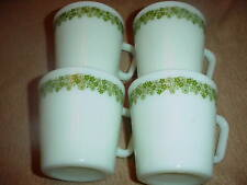 PYREX SPRING BLOSSOM GREEN HEAVY COFFEE MUGS x 4 VGC FREE USA SHIPPING