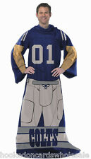 Indianapolis Colts Comfy Throw Blanket With Sleeves Player Uniform Fleece Snuggy