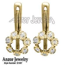 Russian Style Diamond Semi Mount Earrings in 14k Yellow OR White Gold #E1097
