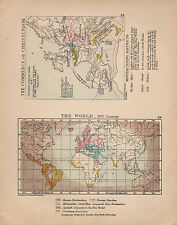 1899 VICTORIAN HISTORICAL MAP ~ WORLD 16th CENTURY COMMERCE CHRISTENDOM