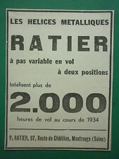 2-4/1935 PUB HELICE RATIER A PAS VARIABLE EN VOL PROPELLER MONTROUGE ORIGINAL AD