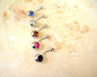 Large Double CZ Gem Navel Belly Ring 14g Deep Purple Surgical Steel
