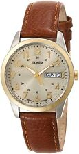 Timex T2N105, Men's Brown Leather Watch, Indiglo, Day/Date