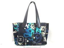 Auth CHANEL New Travel Line Tote PM Black Blue Multi Cotton &  Leather Tote Bag