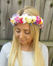 Ivory Lavender Gypsophila Rose Sunflower Flower Garland Headband Hair Crown 1930