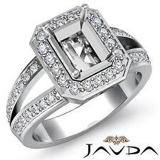 18k White Gold Diamond Engagement Ring Emerald Semi Mount Halo Split Shank 0.6Ct