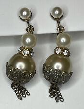 Back Earrings W/Tassels & Rhinestones Vintage Victorian Faux Pearl Screw