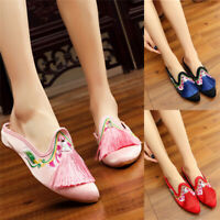 Women Pointed Toe Tassel Mules Chinese Style Embroidery Sandals Flat Comfy Shoes