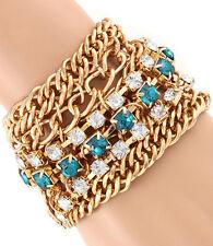 Blue/Green and Clear Rhinestone Chunky Chain Bracelet - Gold Tone #B01