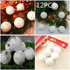 12PCS Christmas Snowball 4CM Balls Party Ornaments Xmas Tree Hanging Decoration