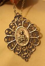 Lovely Lobed Filigree Silvertone Fan Saint Agnes Medal Pendant Necklace Brooch