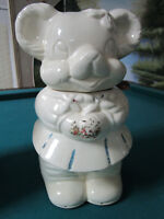 "VINTAGE AMERICAN BISQUE TURNABOUT BEAR COOKIE JAR TWO SIDED BOY&GIRL,12"" tall"