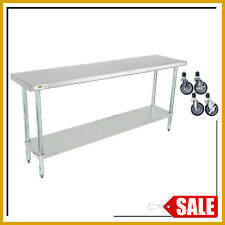18 X 72 Stainless Steel Work Prep Table Commercial Kitchen Undershelf w/ Casters