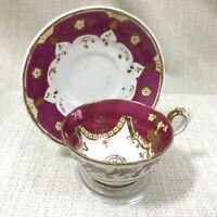Antik Teetasse und Untertasse Weinrot Gold 4284 Victorian Handbemalt Original