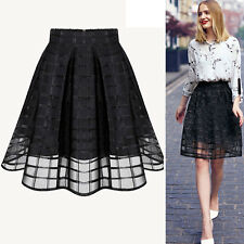 Fashion Women Stretch High Waist Plain Skater Flared Pleated A-Line Midi Skirt
