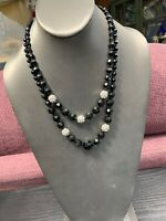WHBM Black Two Strand Glass Crystal Bead Layered 2 Strand Necklace Black Clear