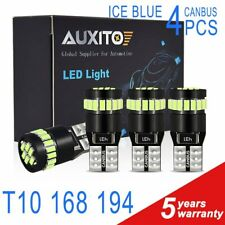 4x AUXITO T10 Wedge 12V 194 168 W5W 2825 ICE BLUE LED Light Bulbs CANBUS Bright