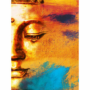 Buddha Face Gold Collage Large Wall Art Print Canvas Premium Poster