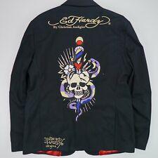 Men's Ed Hardy (XL) Black Embroidered Rhinestone Skull Snake Blazer Sport Coat