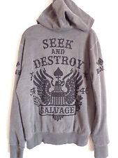 Men's Salvage Brand Clothing charcoal seek & destroy zipper Hoodie jacket SZ L