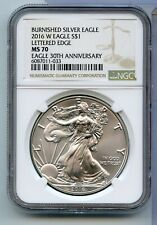 2016W American Burnished Silver Eagle Lettered Edge MS 70 30th Anniversary RC284