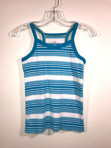 Faded Glory Girls Blue Teal Striped Tank Top Size M (7/8)