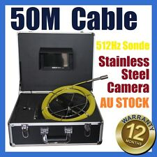 50M Snake Cable Under Water Sewer Drain Pipe Wall Camera w 512HZ Locator Sonde