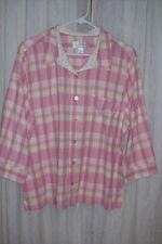 CJ Banks Women's X Pink Plaid Blouse Buttons 3/4 Sleeves 100% Cotton