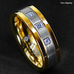 8mm Silver Tungsten Ring Brushed 18K Gold Diamonds ATOP-LUXURY Men Wedding Band