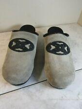 Dansko Gray Suede Black Floral Trim Mules Shoes Clogs Slip On Women's Size EU 39