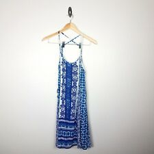 ANGIE Dress size Large Blue White Print Boho Lace Up Sides Beads Strappy Gauzey