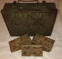 Vintage First Aid Kit: Bell Telephone Co. Green Metal Box With 5 Original Boxes