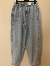 Topshop Bleached High Waisted Balloon Wide Jeans Uk 12 Eu 40 Vintage Retro 80's