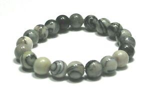Handmade Spirit Mineral Stone Bracelets - 8 mm Black Network Jasper