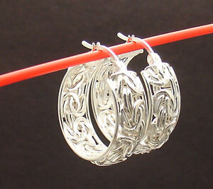 """1"""" 25mm Framed Byzantine Round Hoop Earrings Real 925 Sterling Silver QVC"""